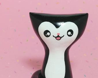 Black Tuxedo Kitty Figurine - Clay Cat