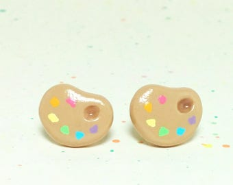 Rainbow Paint Palette Clay Sterling Silver Post Earrings