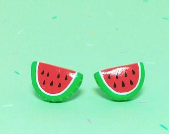 Watermelon Slice Clay Sterling Silver Post Earrings