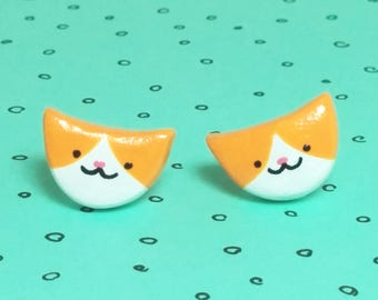 Orange and White Cat Clay Sterling Silver Post Earrings