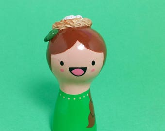 Bird's Nest Girl Figurine - Collectible Miniature Clay Figure