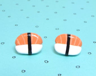 Salmon Sushi Clay Sterling Silver Post Earrings