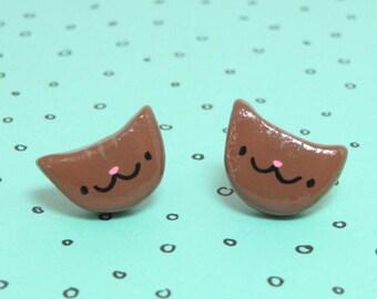 Brown Tabby Cat Clay Sterling Silver Post Earrings