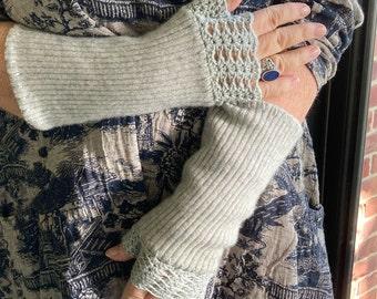 Fingerless Gloves  . grey cashmere gloves . made from repurposed cashmere sweaters . fingerless cashmere gloves