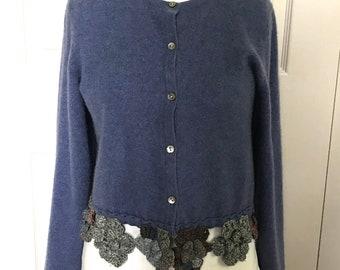 cashmere cardigan . upcycled cashmere . repurposed cashmere . blue cashmere bolero sweater