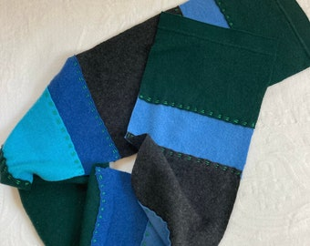 cashmere scarf . unisex Cashmere Scarf . made from repurposed cashmere sweaters .  eco friendly . blue cashmere scarf