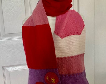 Cashmere Scarf . made from repurposed cashmere sweaters .  eco friendly . red cashmere scarf