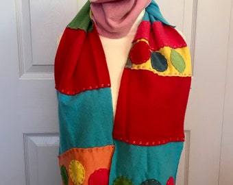 cashmere scarf . colorful Cashmere Scarf . made from repurposed cashmere sweaters .  eco friendly . rainbow cashmere scarf