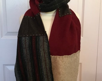 cashmere scarf . Felted Cashmere Scarf . made from repurposed cashmere sweaters .  eco friendly . unisex cashmere scarf