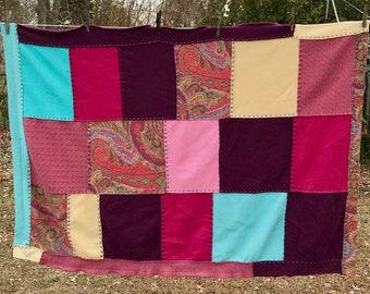 Cashmere Blanket . cashmere quilt . repurposed cashmere sweaters  . wedding blanket . color block blanket . paisley blanket