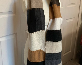 Cashmere Scarf . unisex cashmere scarf . made from repurposed cashmere sweaters .  eco friendly . brown cashmere scarf