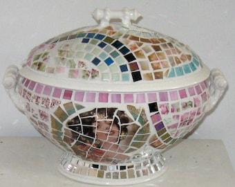 Mosaic soup terrine . mosaic ironstone soup terrine