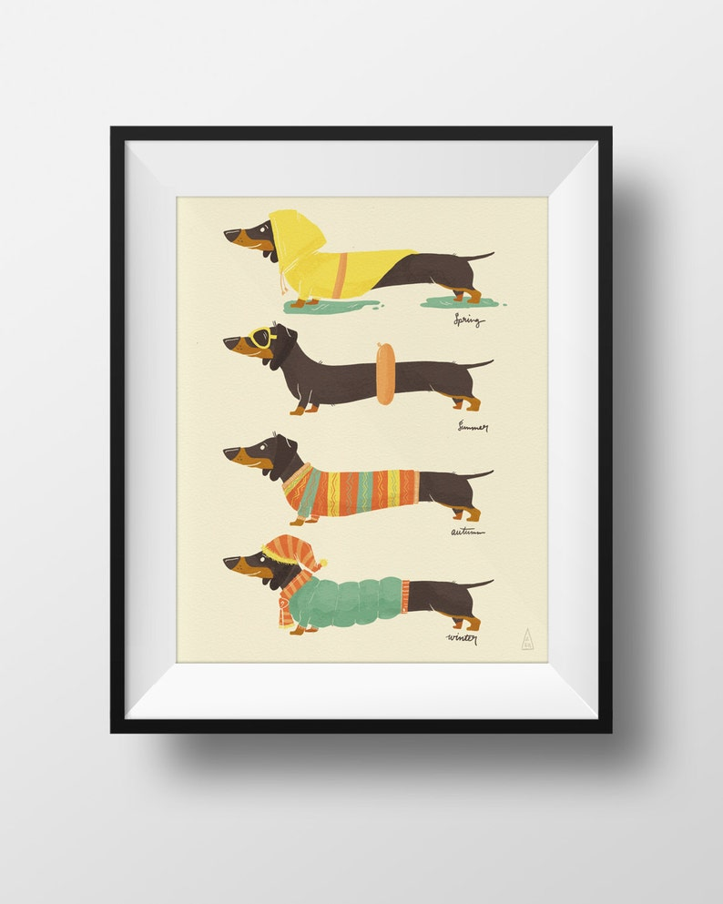 Fine Art Dog Print  Seasonal Dachshund Illustration  Cute image 0