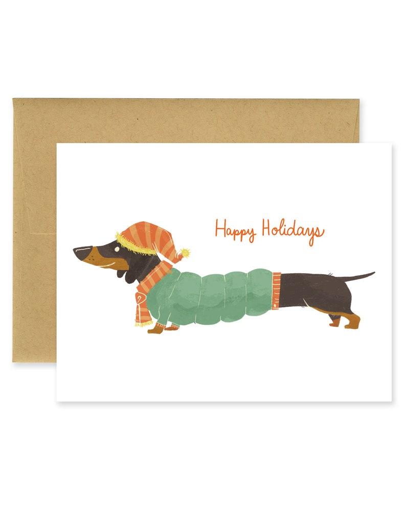 Happy Holidays Dachshund Holiday Illustrated Greeting Card  image 0