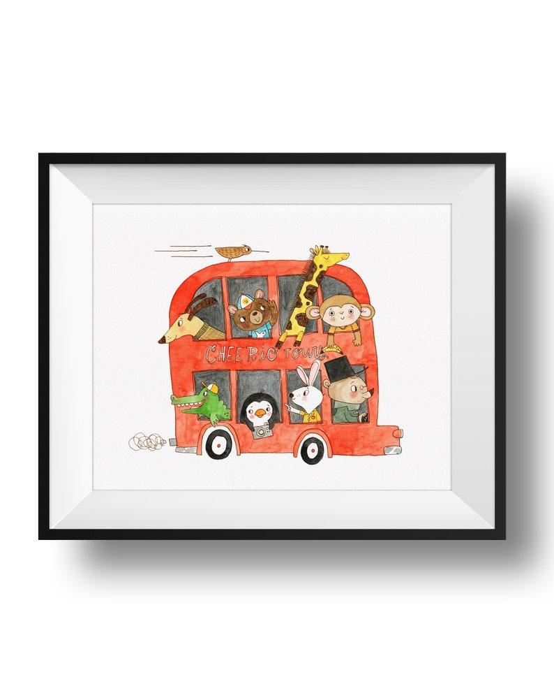 Fine Art Nursery Print  Cheerio Tours  Double Decker Bus  image 0