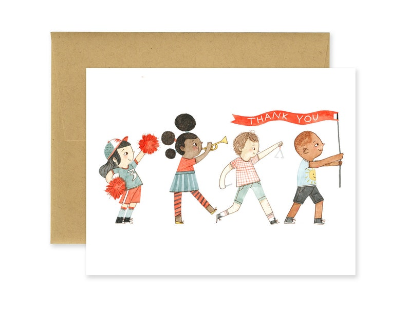 Thank You Kids Illustrated Greeting Card  Cute Stationery  image 0