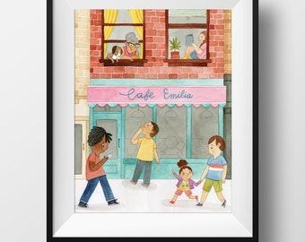 Fine Art Print - Cafe Emilia • Cute City Art Print • Kids Room