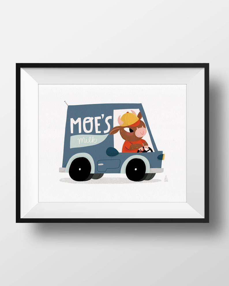 Fine Art Nursery Print  Moe's Milk  Cows in Cars  Cute image 0
