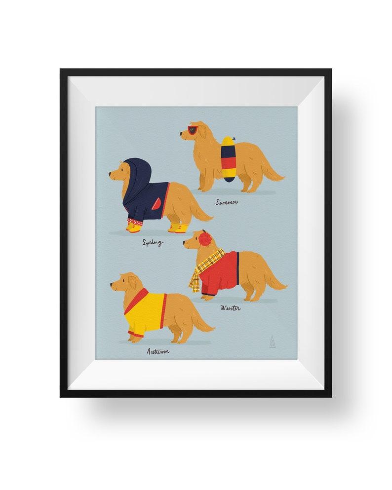 Fine Art Dog Print  Seasonal Golden Retriever Illustration  image 0