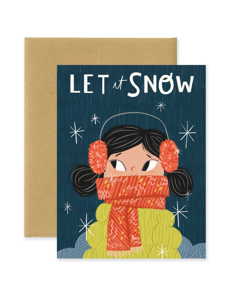 Let it Snow Holiday Illustrated Greeting Card  Cute image 0