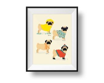 Fine Art Dog Print - Seasonal Pug Illustration • Cute Nursery Print • Kids Room • Spring, Summer, Autumn, Winter