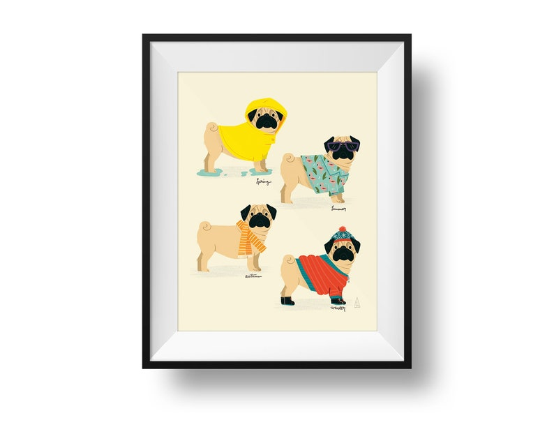 Fine Art Dog Print  Seasonal Pug Illustration  Cute Nursery image 0