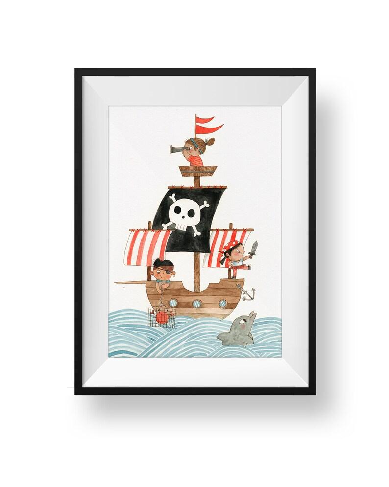 Fine Art Nursery Print  Little Pirates Ahoy  Double Decker image 0