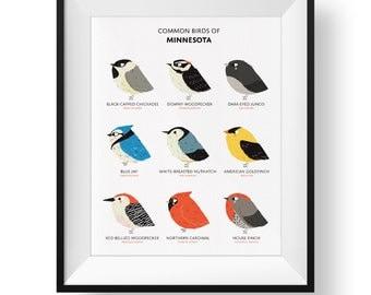 Common State Birds of Minnesota Art Print • Illustrated Chubby Bird Print • Minnesota Field Guide