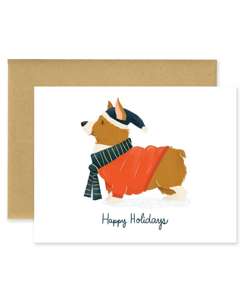 Happy Holidays Corgi Holiday Illustrated Greeting Card  image 0
