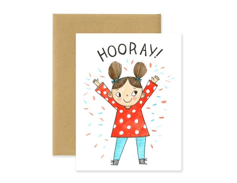 Hooray Illustrated Greeting Card Cute Watercolor Stationery image 0