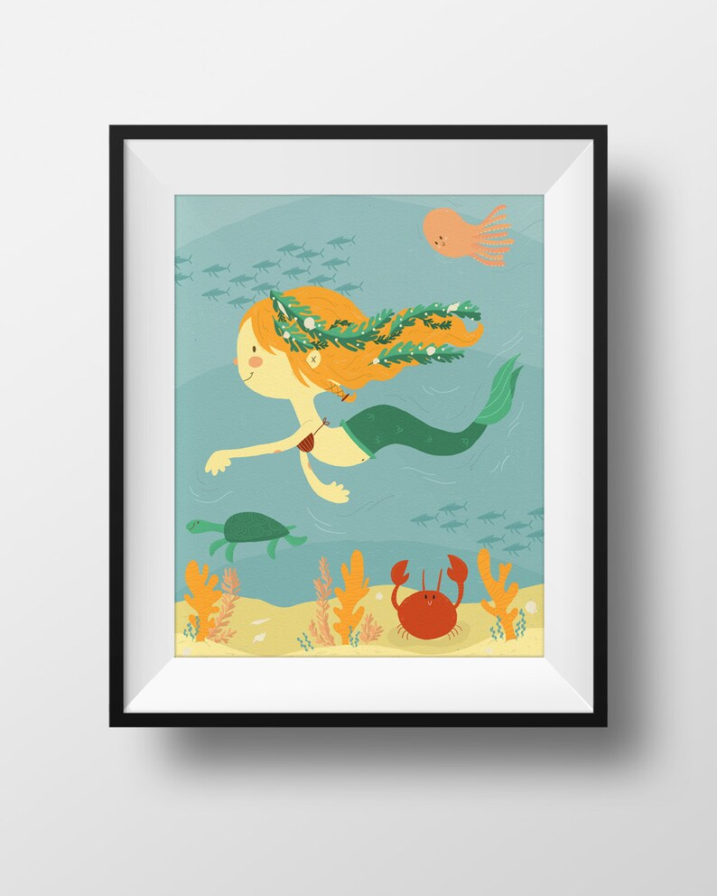 Cute Art Nursery Print  Mermaid Illustration  Under the Sea image 0