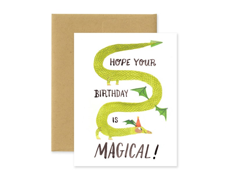 Magical Birthday Dragon Illustrated Greeting Card  Cute image 0