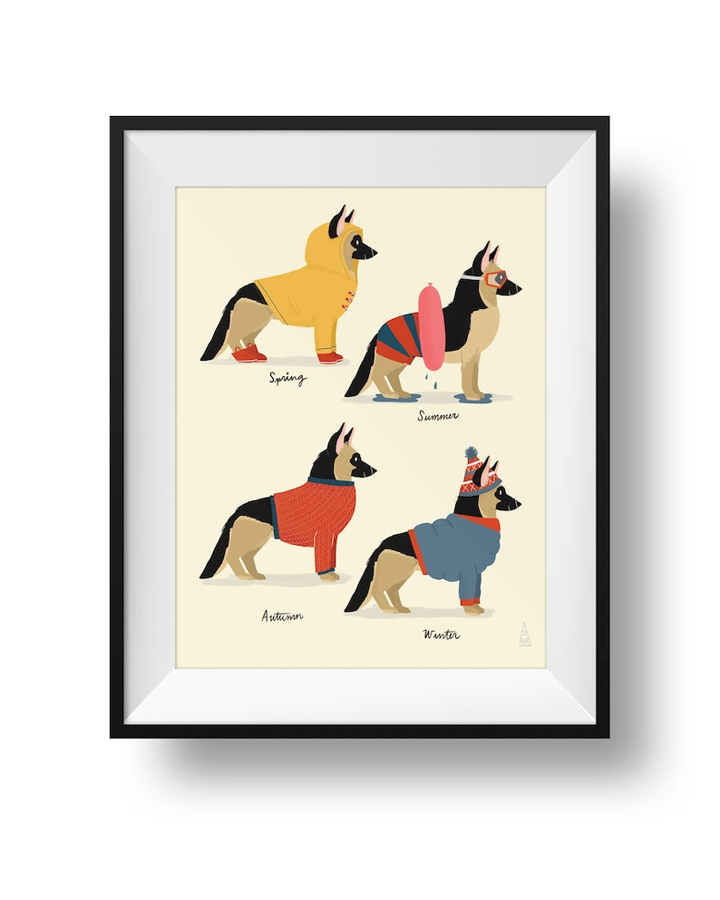 Fine Art Dog Print  Seasonal German Shepherd Illustration  image 0