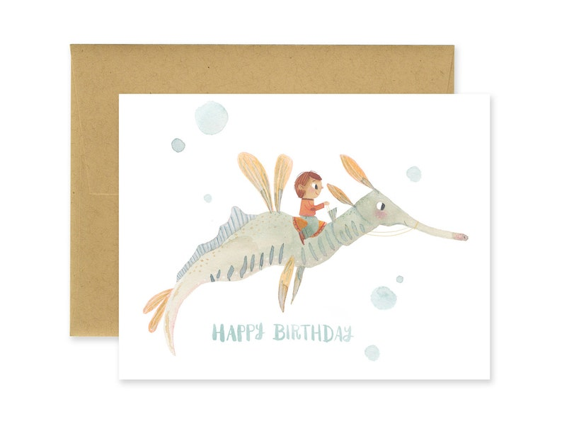 Sea Dragon Happy Birthday Illustrated Greeting Card  Seahorse image 0