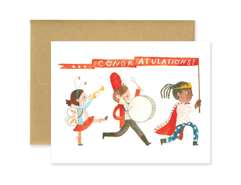 Kid Parade Congratulations Banner Illustrated Greeting Card  image 0