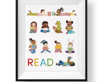 READ • Fine Art Print • Kids Reading • Cute Multicultural Art Print • Kids Room