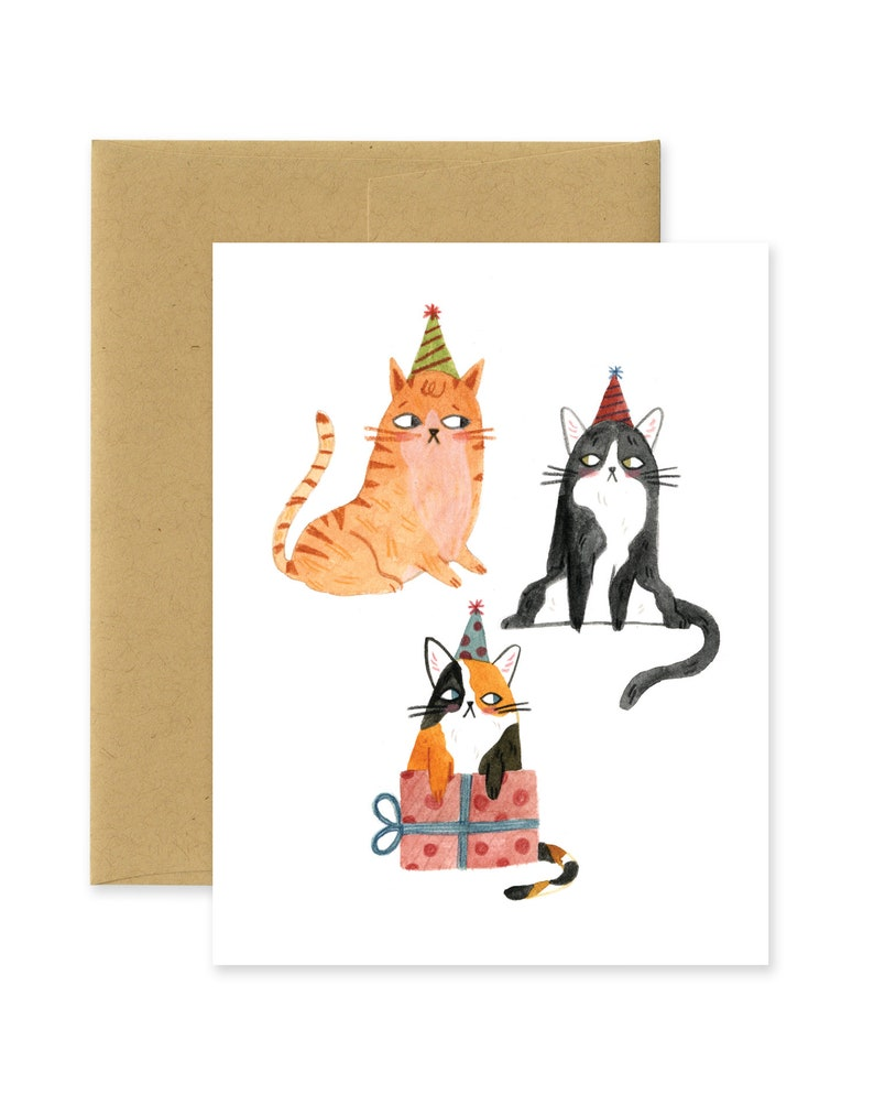 Grumpy Birthday Happy Birthday Three Cats Illustrated Cat image 0