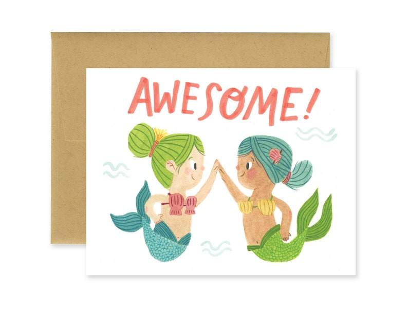 Awesome Mermaids Illustrated Greeting Card  Cute Stationery image 0
