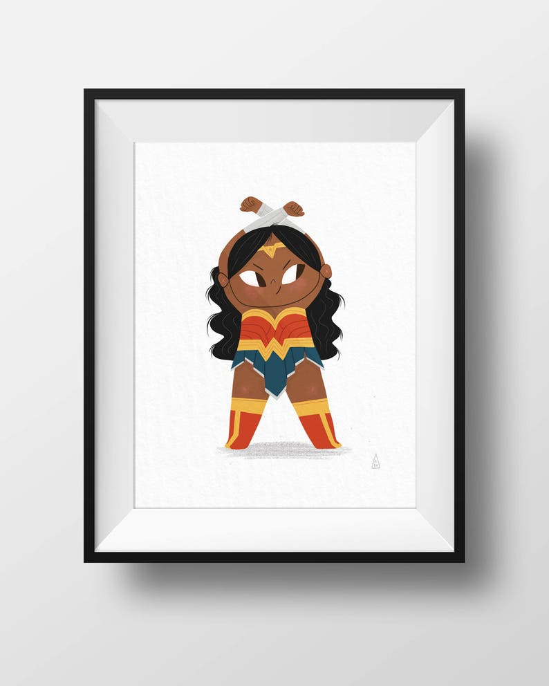 Fan Art Print  Wonder Woman Girl Power  Kids Room image 0
