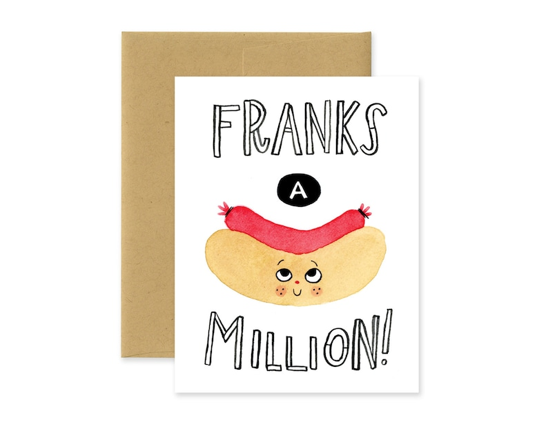 Franks A Million Illustrated Greeting Card  Cute Stationery  image 0