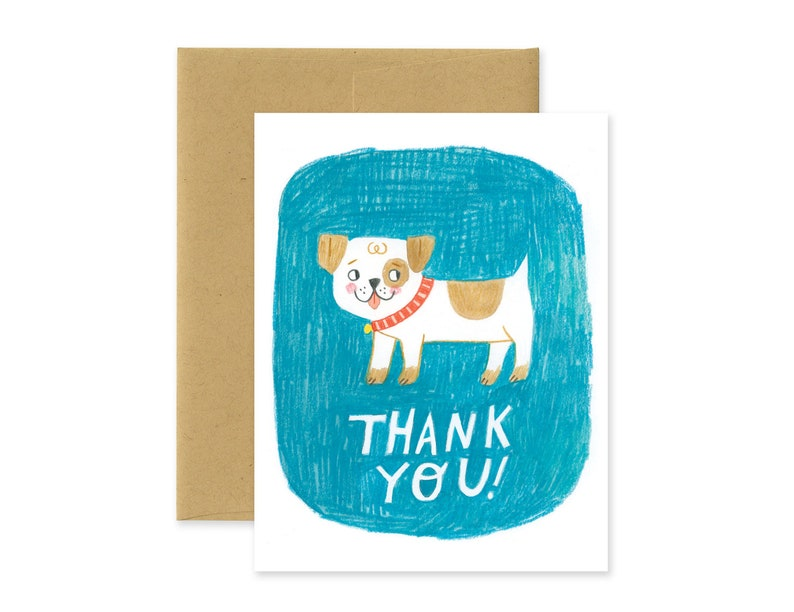 Thank You Dog Illustrated Greeting Card  Cute Stationery  image 0