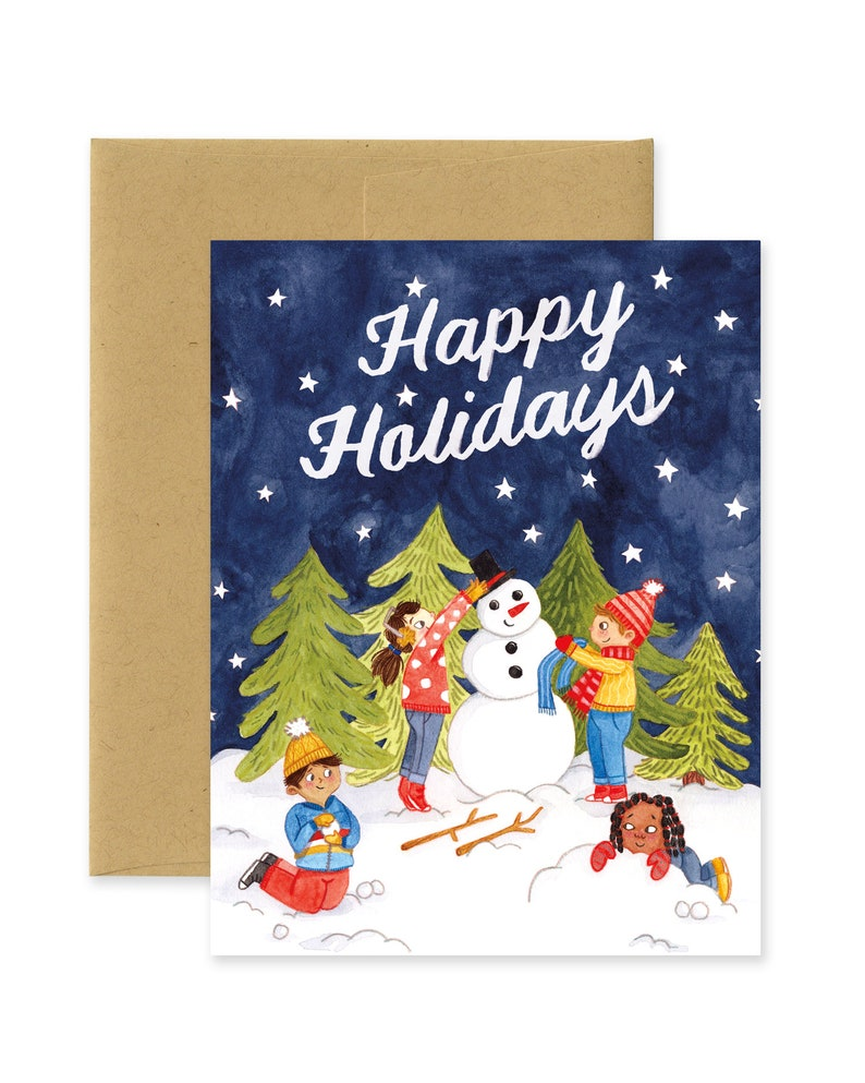 Happy Holidays Kids  Snow Scene Holiday Illustrated image 0