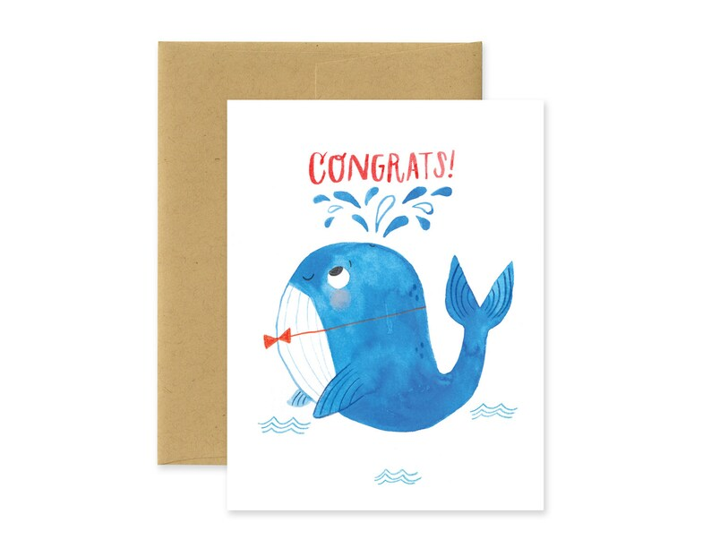Congrats Whale Illustrated Greeting Card Cute Watercolor image 0