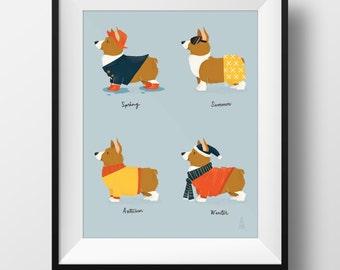 Fine Art Dog Print - Seasonal Corgi Illustration • Cute Pembroke Art • Spring, Summer, Autumn, Winter • Kids Room • Nursery Print