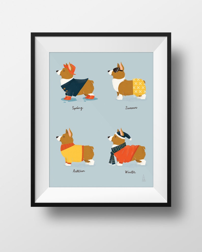 Fine Art Dog Print  Seasonal Corgi Illustration  Cute image 0