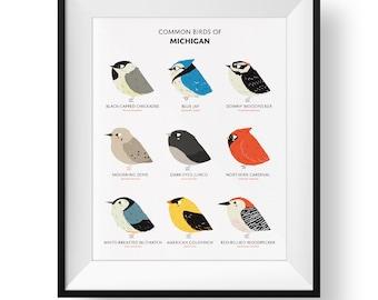 Common State Birds of Michigan Art Print • Illustrated Chubby Bird Print • Michigan Field Guide