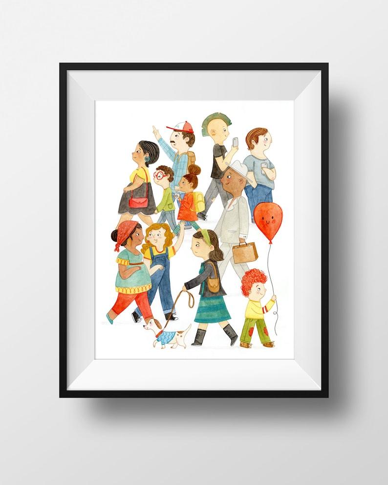 Fine Art Print  Colorful Crowd  Cute Multicultural Art Print image 0