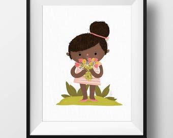 Fine Art Nursery Print - Flower Girl • Cute Kids Room