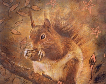 Red Squirrel Greetings/Note Card