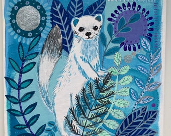 Winter Stoat Hand Finished Print